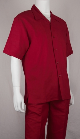 Jazz Solid Brick Red 100% Linen Walking Suits RMSO - click to enlarge