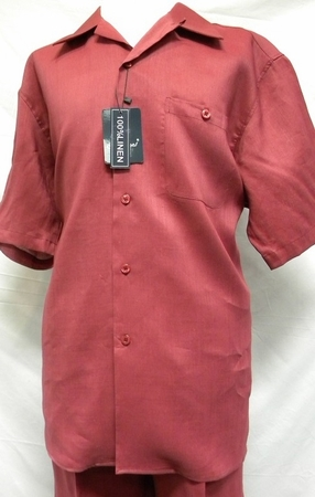 Trust Mens Big Size Burgundy Linen Casual Outfit L601P - click to enlarge