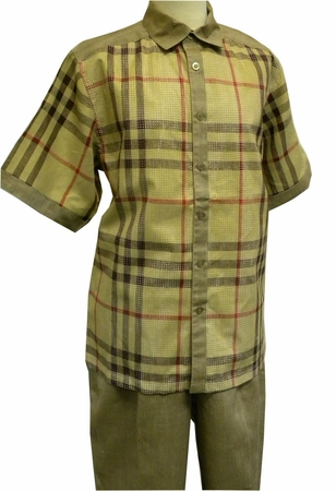Prestige Khaki Plaid Perforated Linen Casual Outfit LUX-665 - click to enlarge