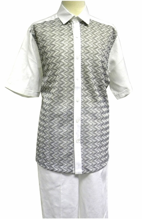Prestige Mens Irish Linen Walking Suit White Knit Front LUX789 - click to enlarge