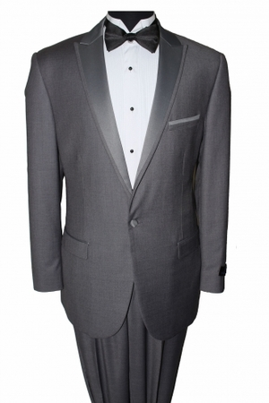 Slim Fit Prom Suit Mens Dark Grey 1 Button SA MT187S - click to enlarge