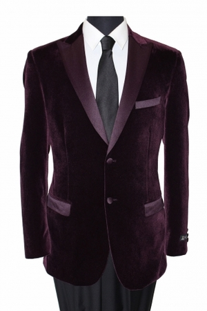 Tazio Mens Wine Velvet Slim Fit Jacket MJ114S - click to enlarge