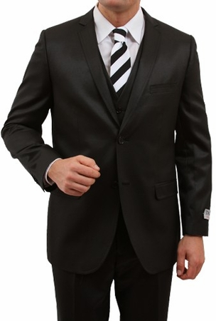 Shiny Black Young Mens Slim Fit Style Suit Three Pieces Tazio M163S - click to enlarge