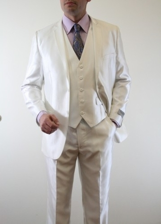 Shiny Ivory Slim Fit Type Suit Cream Fitted Vest Included Tazio M163S - click to enlarge