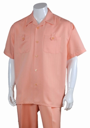 Summer Walking Suits Mens Peach Short Sleeve Outfit M2963 - click to enlarge