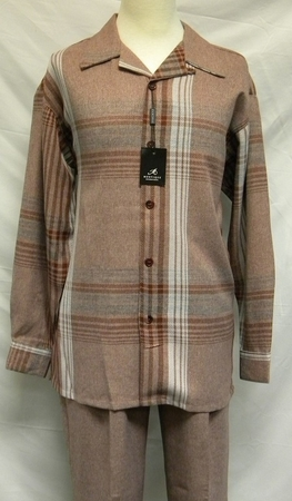 Montique Mens Casual Walking Suits Copper Plaid Flannel 1104 - click to enlarge