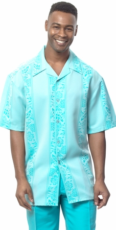 Montique Mens Short Sleeve Teal Pattern Walking Suit 550 - click to enlarge