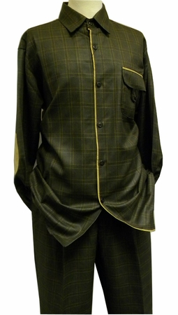 Pronti Mens Olive Plaid Sharkskin Walking Two Piece Set 6207 - click to enlarge
