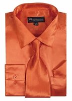 Silk Shirt Mens Orange Shiny Satin Long Sleeve Tie Set Milano SG08