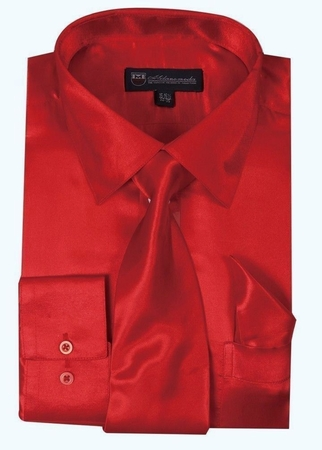 Silk Shirt Mens Red Satin Long Sleeve Tie Set Milano SG08 - click to enlarge