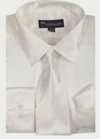 Silk Shirt Mens White Shiny Satin Long Sleeve Tie Set Milano SG08