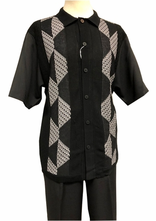 Silversilk Leisure Suit Mens Black Knit Front Casual Outfit 4300 - click to enlarge
