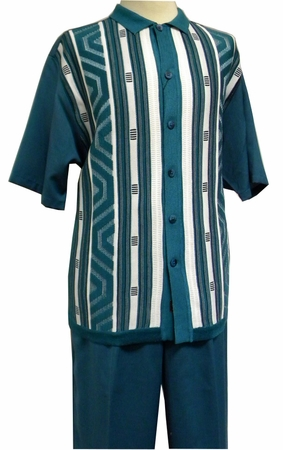 Michael Irvin Silversilk Teal Knit Front Walking Suit 2396 - click to enlarge