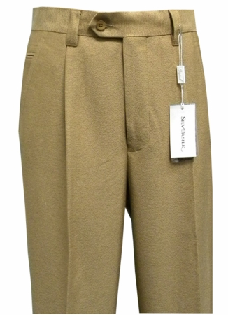 Silversilk Slacks Mens Camel Crepe Texture Pleated Dress Pants 650P - click to enlarge