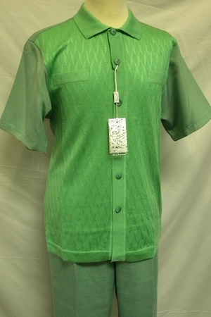 Silversilk Mens Solid Green Knit Front Short Sleeve Outfit 5346 - click to enlarge
