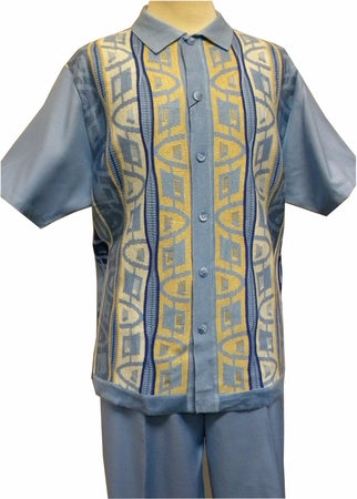 Silversilk Mens Sapphire Blue Knit Front Casual Walking Suit 9302 - click to enlarge