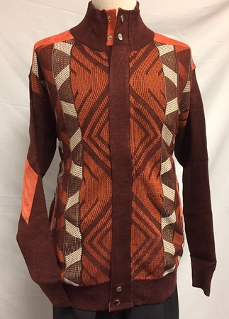 Silversilk Mens Rust Diamond Pattern Zipper Front Sweater 3228 - click to enlarge