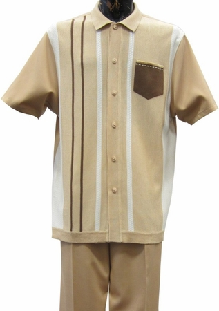 Silversilk Mens Tan Patch Sweater Front Walking Suit 7340 - click to enlarge