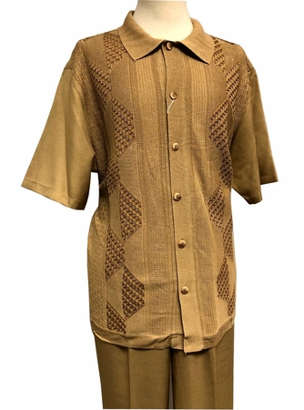 Silversilk Walking Suit Mens Camel Beige Knit Front Casual Outfit 4300 - click to enlarge