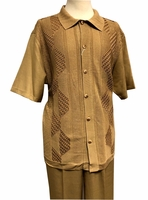 Silversilk Walking Suit Mens Camel Beige Knit Front Casual Outfit 4300