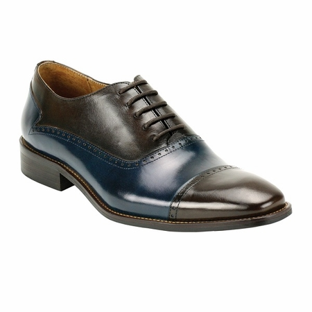 Giovanni Mens Chocolate/Navy Two Tone Cap Toe Dress Shoes Alton htm - click to enlarge