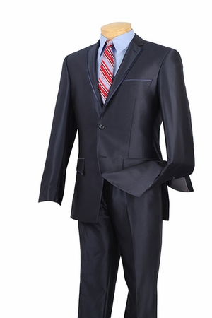 Slim Fit Suits by Vinci Mens Blue Shiny Navy S2RR-4 - click to enlarge