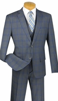 Slim Fit 3 Pc. Suit Mens Gray Plaid Flat Front Vinci SV2W-4