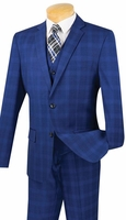 Slim Fit 3 Piece Suit Mens Blue Plaid Fitted Vinci SV2W-4