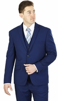 Slim Fit 3 Piece Suit Mens Designer Cobalt Blue Lorenzo Bruno TS62KR