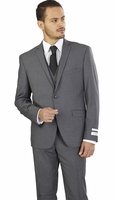 Slim Fit 3 Piece Suit Mens Designer Heather Gray Lorenzo Bruno TS62KR