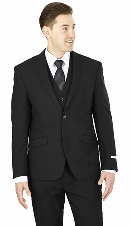 Slim Fit 3 Piece Suit Mens Solid Black Lorenzo Bruno TS62KR - click to enlarge