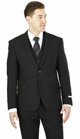 Slim Fit 3 Piece Suit Mens Solid Black Lorenzo Bruno TS62KR
