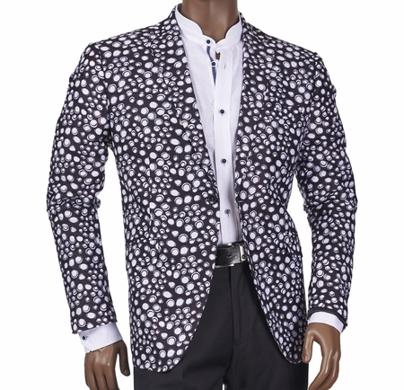 Slim Fit Blazer by Inserch Mens Black Bubble Pattern 545-41 - click to enlarge
