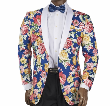 Slim Fit Blazer by Inserch Mens Blue Flower Pattern 5513-11 - click to enlarge