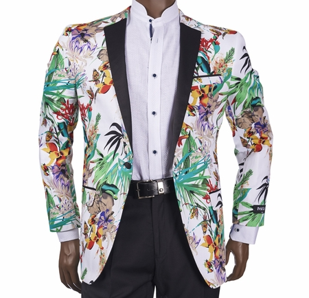 Slim Fit Blazer by Inserch Mens Tropical Pattern 550-66 - click to enlarge