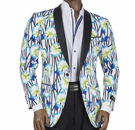 Slim Fit Blazer by Inserch Mens White Blue Flowers 5512-01 - click to enlarge
