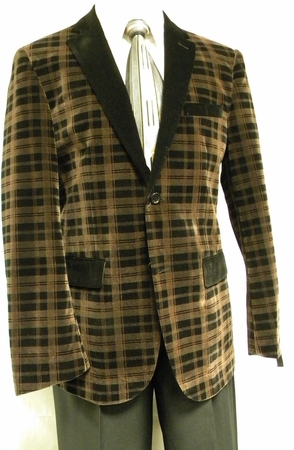 Carmashi Mens Brown Plaid Velvet Fashion Jacket B6082 - click to enlarge
