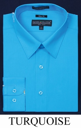Slim Fit Dress Shirt Mens Long Sleeve Turquoise DE DS3003 - click to enlarge