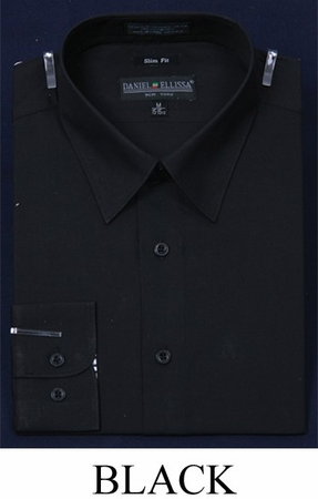 Slim Fit Dress Shirts Mens Black Long Sleeve DE DS3003 - click to enlarge