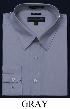 Slim Fit Dress Shirts Mens Gray Long Sleeve DE DS3003 - click to enlarge