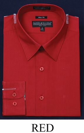 Slim Fit Dress Shirts Mens Red Long Sleeve DE DS3003 - click to enlarge