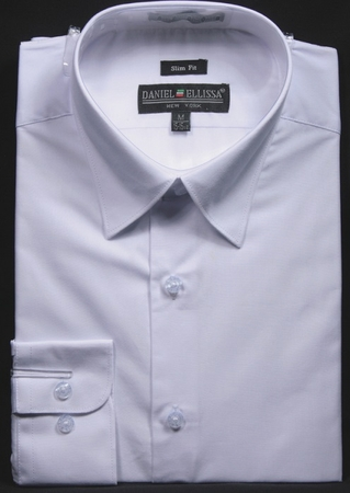 Slim Fit Dress Shirts Mens White Long Sleeve DE DS3003 - click to enlarge