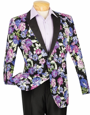 Slim Fit Flower Blazer Blue Vinci BFL-1 - click to enlarge
