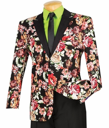 Slim Fit Flower Blazer Red Vinci BFL-1 - click to enlarge