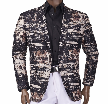 Slim Fit Jacket by Inserch Mens Black Print 554-01 - click to enlarge