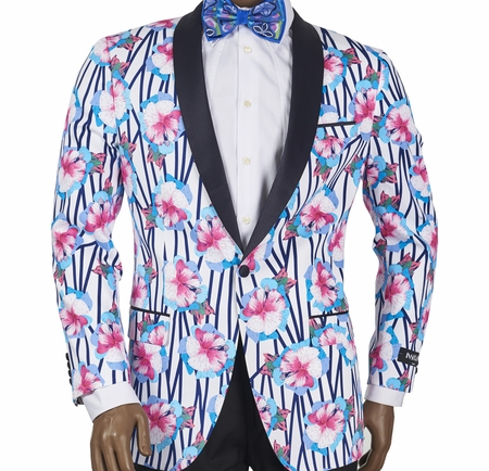 Slim Fit Jacket by Inserch Mens White Navy Flower Print 5512-11 - click to enlarge
