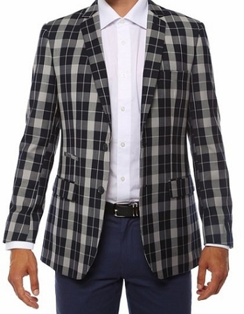 Ferrecci Mens Navy Slim Fit Plaid Checker Blazer Preston - click to enlarge