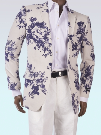 Slim Fit Summer Blazer by Inserch Mens White Blue Pattern 549-11 - click to enlarge
