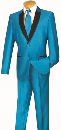 Slim Fit Prom Suit by Vinci Mens Shiny Turquoise S2PS-1 - click to enlarge