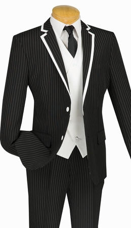 Slim Fit Prom Suits by Vinci Mens Black Stripe 3 Piece SVFF-1 - click to enlarge